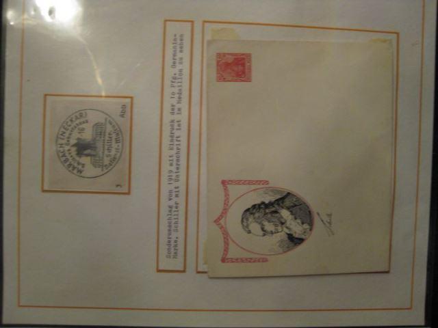 Sonderumschlag mit 10 Pf. Germaniamarke und Faksimileunterschrift Schiller und Schiller im Medaillon