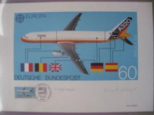 Künstleredition ;EUROPA-Marke AIRBUS A 320 von 1986; Handsigniert 520/1000
