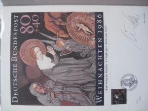 Künstleredition Briefmarkengrafik Weihnachten 1986; Handsigniert 551/1000