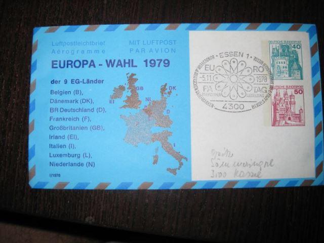 Privatganzsache Europa-Wahl 1979 , gestempelt, Aerogramm