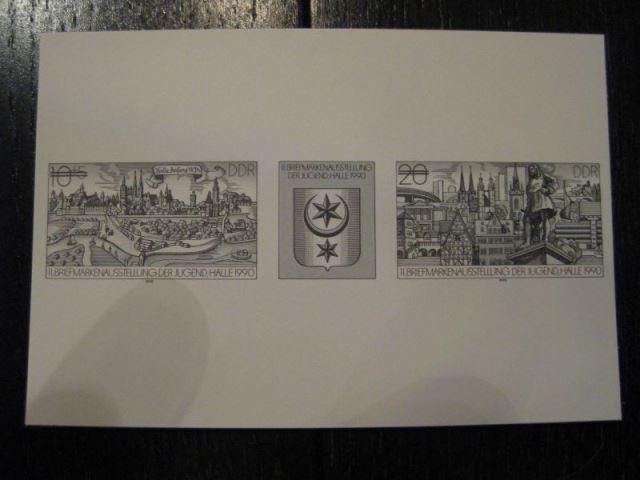 Schwarzdruck DDR Michel-Nr. 3338-39 Dreierstreifen-Zusammendruck