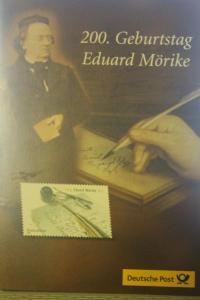 Gedenkblatt, Erinnerungsblatt der Deutsche Post; 200. Geburtstag Eduard Mörike