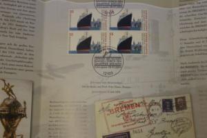 Gedenkblatt, Erinnerungsblatt Blaues Band Dampfer Bremen der Deutsche Post