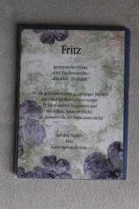 Fritz, Namenskarte Fritz, Geburtstagskarte Fritz, Glückwunschkarte Fritz, Personalisierte Karte   Fritz