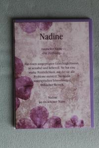 Nadine, Namenskarte Nadine, Geburtstagskarte Nadine, Glückwunschkarte Nadine, Personalisierte Karte   Nadine
