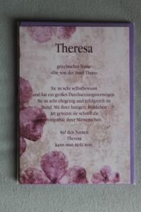 Theresa, Namenskarte Theresa, Geburtstagskarte Theresa, Glückwunschkarte Theresa, Personalisierte Karte   Theresa