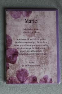 Marie, Namenskarte Marie; Geburtstagskarte Marie, Glückwunschkarte Marie, Personalisierte Karte   Marie