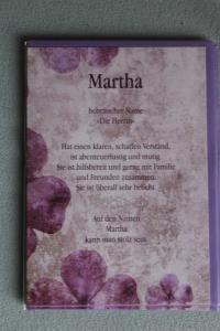 Martha, Namenskarte Martha; Geburtstagskarte Martha, Glückwunschkarte Martha, Personalisierte Karte   Martha
