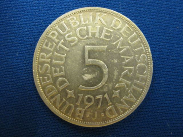 5 DM Silber Silbermünze Kursmünze 1971 J, VZ
