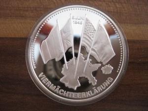 Medaille aus Silber  Viermächteerklärung 1945 Medaille aus Sterlingsilber