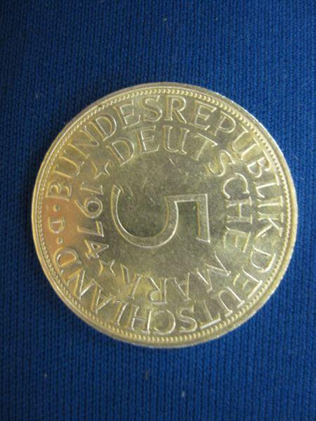5 DM Kursmünze Silbermünze 1974 D stg