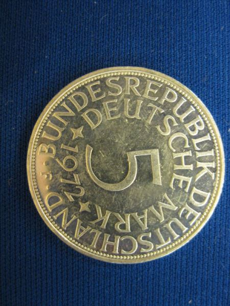 5 DM Kursmünze Silbermünze 1972 F stg