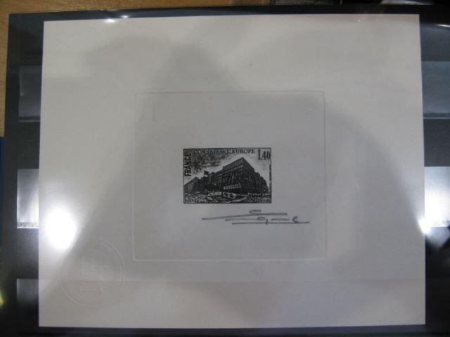 CEPT-Mitläufer EUROPA-UNION-Symphatie-Ausgabe Dienstmarke für den Europarat, Mi.-Nr. 29 in geänderter Farbe (schwarz) Epreuve de Artiste