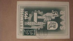 MK Maximumkarte Saar Saarmesse 1951 Saarbrücken Saarland