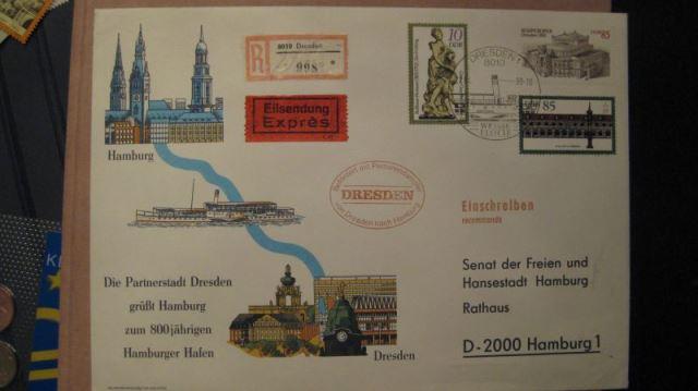 DIN A5 Brief von Dresden nach Hamburg mit Personendampfer