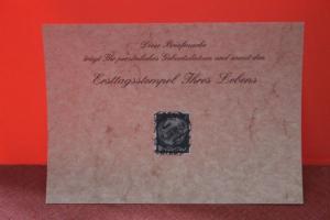 Geburtstagskarte- Ersttagskarte - Diese Briefmarke trägt Ihr persönliches Geburtsdatum und somit den Ersttagsstempel Ihres Lebens