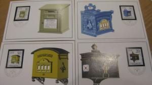 Amtliche MK Maximumkarten 1 - 4/1985 Historische Briefkästen
