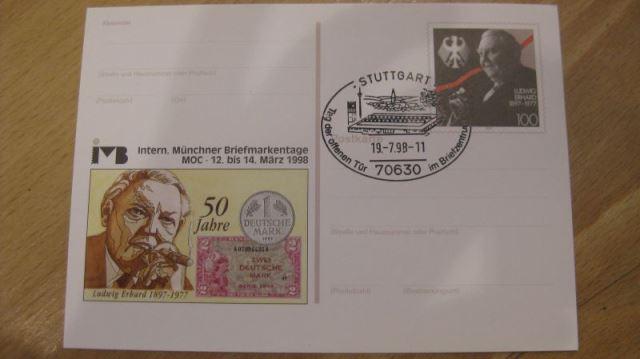 Ganzsache 50 Jahre Deutsche Mark D-Mark Intern. Münchner Briefmarkentage 1997