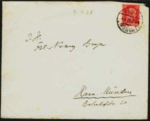 D-REICH 1926 Nr 391 BRIEF EF 18F4DA