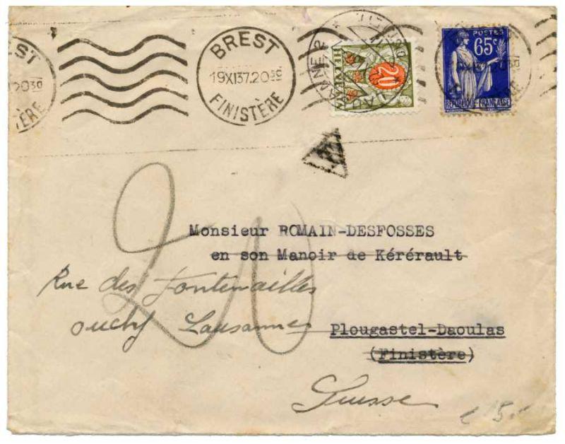 Brief Schweiz Porto