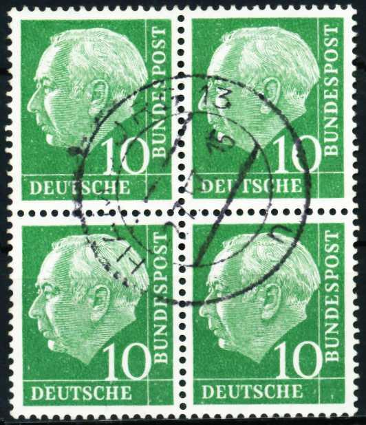 BRD DS HEUSS 1 Nr 183x zentrisch gestempelt VIERERBLOCK 57A7C6