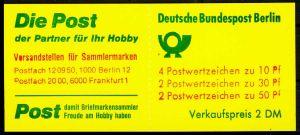 BERLIN MARKENHEFTCHEN Nr MH 10a IoZ postfrisch 1F959E