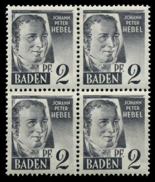 F-ZONE BADEN Nr 1yvII postfrisch VIERERBLOCK 7B7A3E