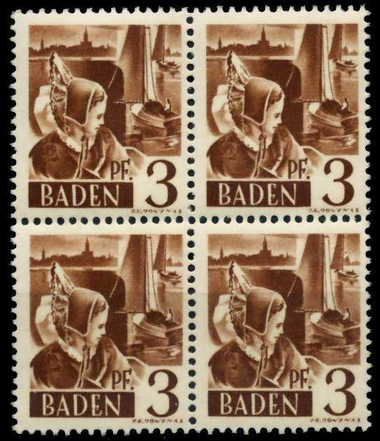 F-ZONE BADEN Nr 2yvI postfrisch VIERERBLOCK 7B7BE2