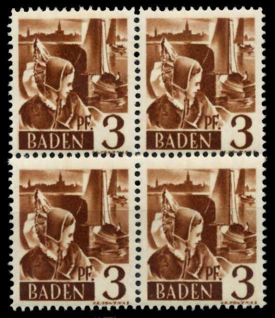 F-ZONE BADEN Nr 2yvI postfrisch VIERERBLOCK 7B7BE6