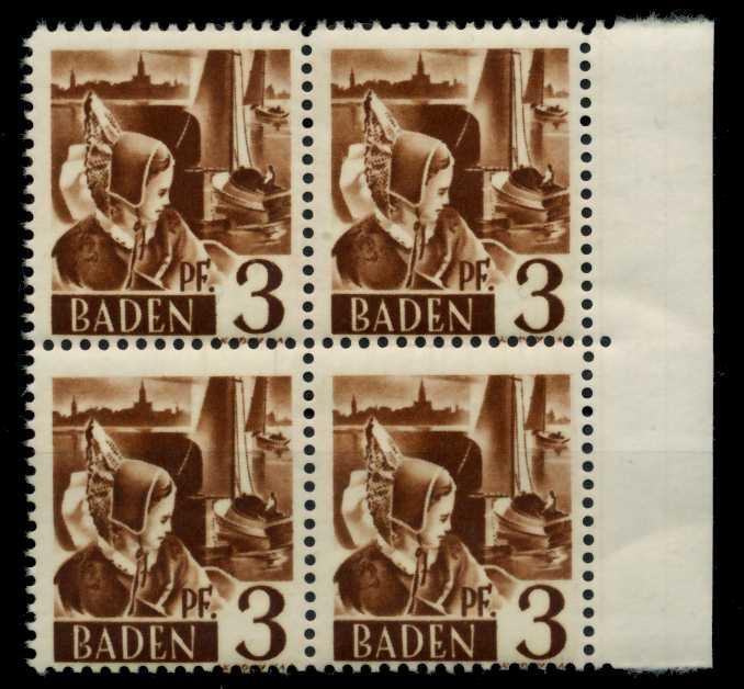 F-ZONE BADEN Nr 2yvI postfrisch VIERERBLOCK 7B7BEE