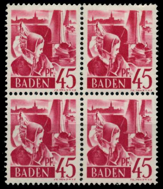 F-ZONE BADEN Nr 9yvI postfrisch VIERERBLOCK 7B7F4A