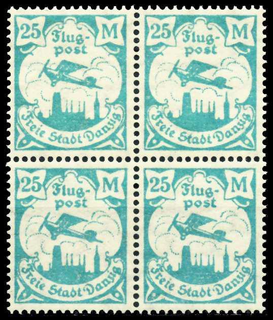 DANZIG 1923 Nr 133Y postfrisch VIERERBLOCK 4CF7A6
