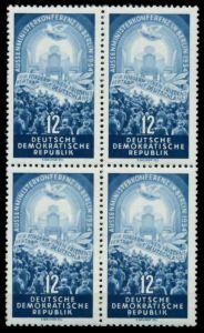 DDR 1954 Nr 424YI postfrisch VIERERBLOCK 8C2276
