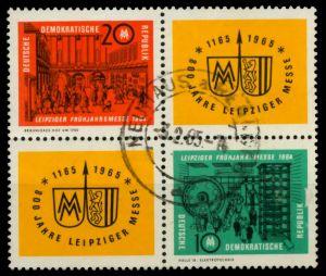 DDR ZD Nr 1012VB1-1013VB1 zentrisch gestempelt VIERERBLOCK 8D53BE