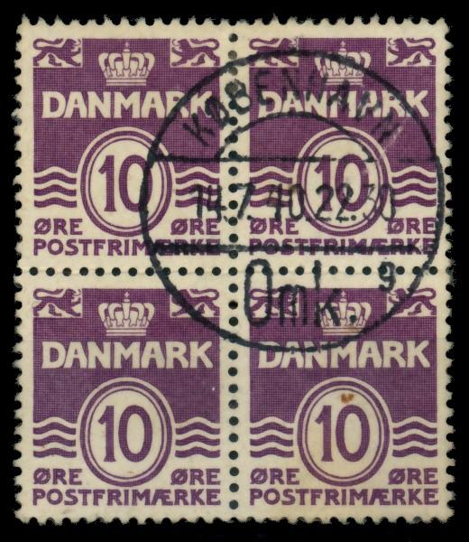 DÄNEMARK Nr 246xA zentrisch gestempelt VIERERBLOCK 90E26E