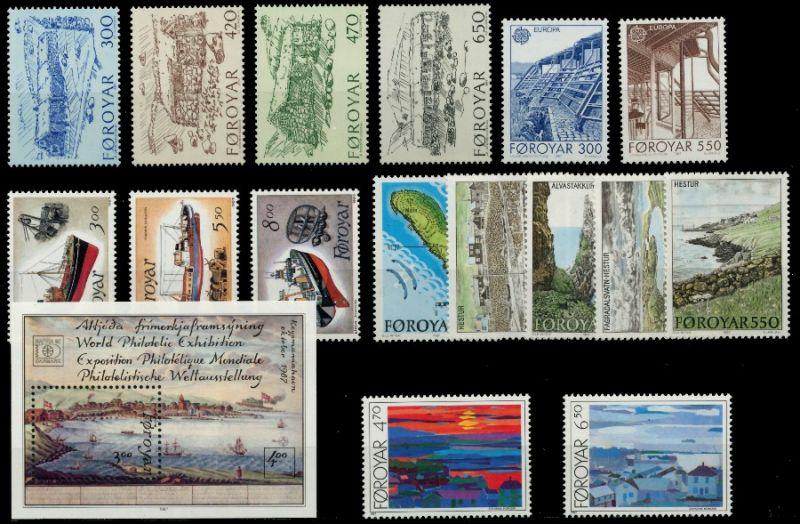 FÄRÖER Nr 145-161 postfrisch JAHRGANG 90E3CA