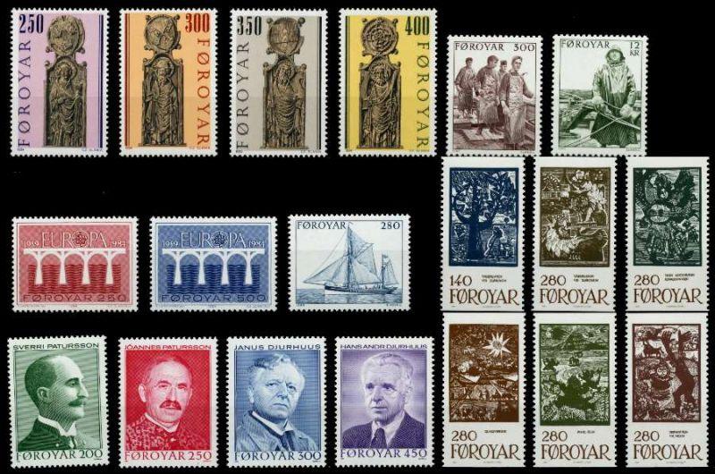 FÄRÖER Nr 93-111 postfrisch JAHRGANG 92A266