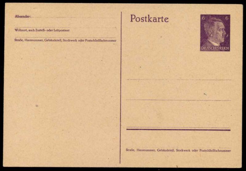 DEUTSCHES REICH Nr P299I UNGEBRAUCHT POSTKARTE 6947A6