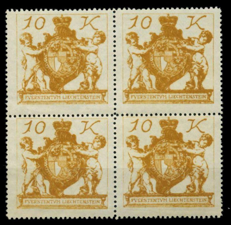 LIECHTENSTEIN 1920 Nr 39 postfrisch VIERERBLOCK 6FDFB6