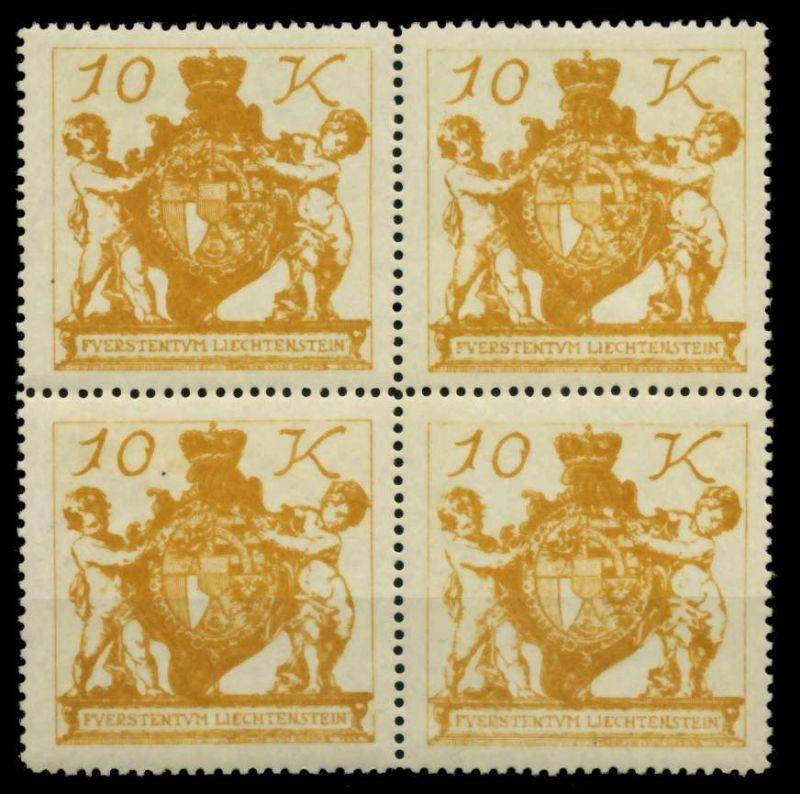 LIECHTENSTEIN 1920 Nr 39 postfrisch VIERERBLOCK 6FDFCA