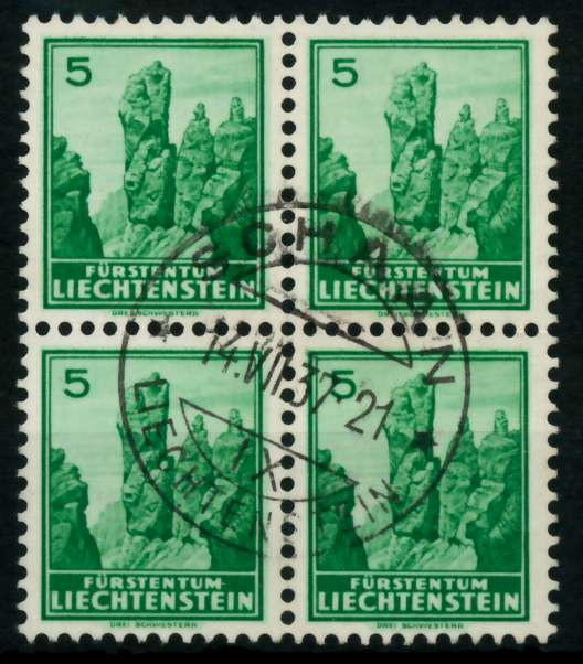 LIECHTENSTEIN 1934 Nr 127x zentrisch gestempelt VIERERBLOCK 6FE4DE