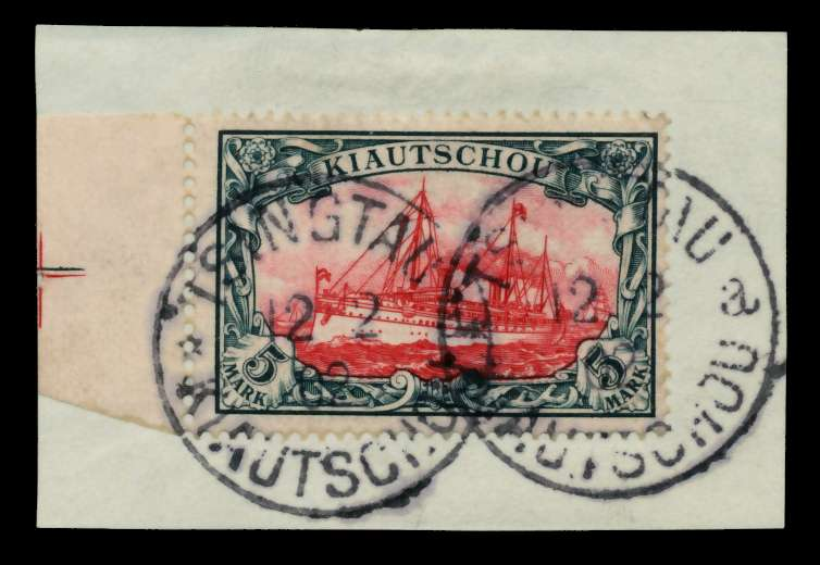KIAUTSCHOU Nr 17 zentrisch gestempelt Briefst³ck ATTEST 70059A