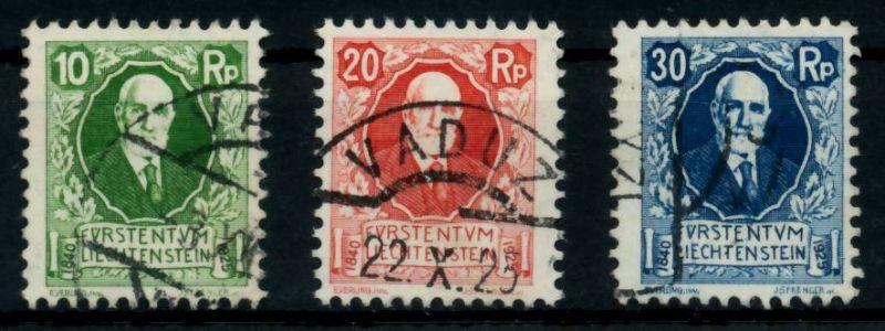 LIECHTENSTEIN 1925 Nr 72-74 gestempelt ATTEST 6A8DC6