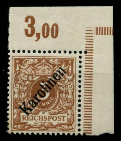 KAROLINEN Nr 1I postfrisch ungebraucht ECKE-ORE 6B211E