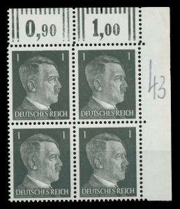3. REICH 1941 Nr 781a postfrisch VIERERBLOCK ECKE-ORE 78006A
