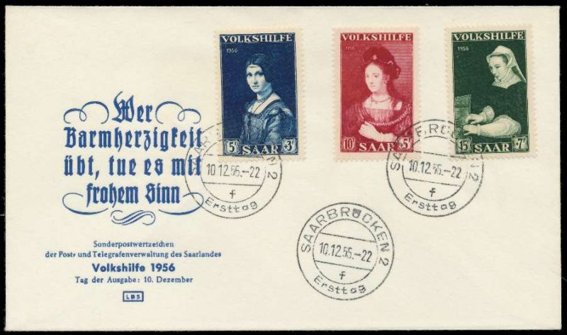 Saarland 1956 Nr 376 378 Brief Fdc 78dca6 Nr 07000580d17 78dca6