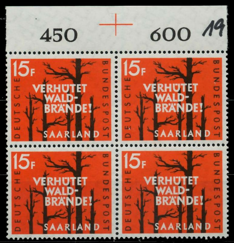 SAAR OPD 1958 Nr 431 postfrisch VIERERBLOCK ORA 79C7EE