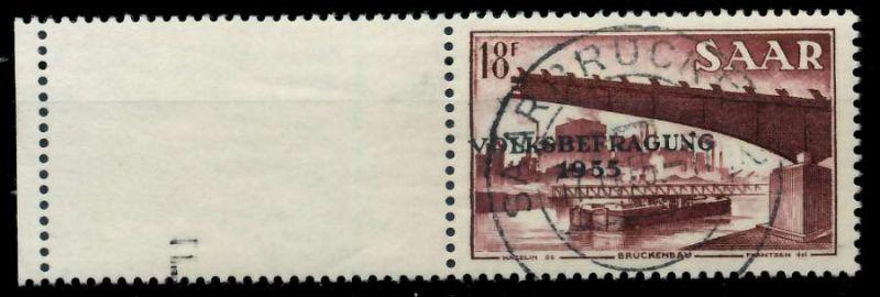 SAARLAND 1955 Nr 363L zentrisch gestempelt 79DDAE