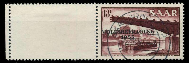 SAARLAND 1955 Nr 363L zentrisch gestempelt 79DDBA