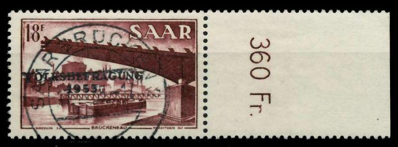 SAARLAND 1955 Nr 363 zentrisch gestempelt ORA 79DDC2